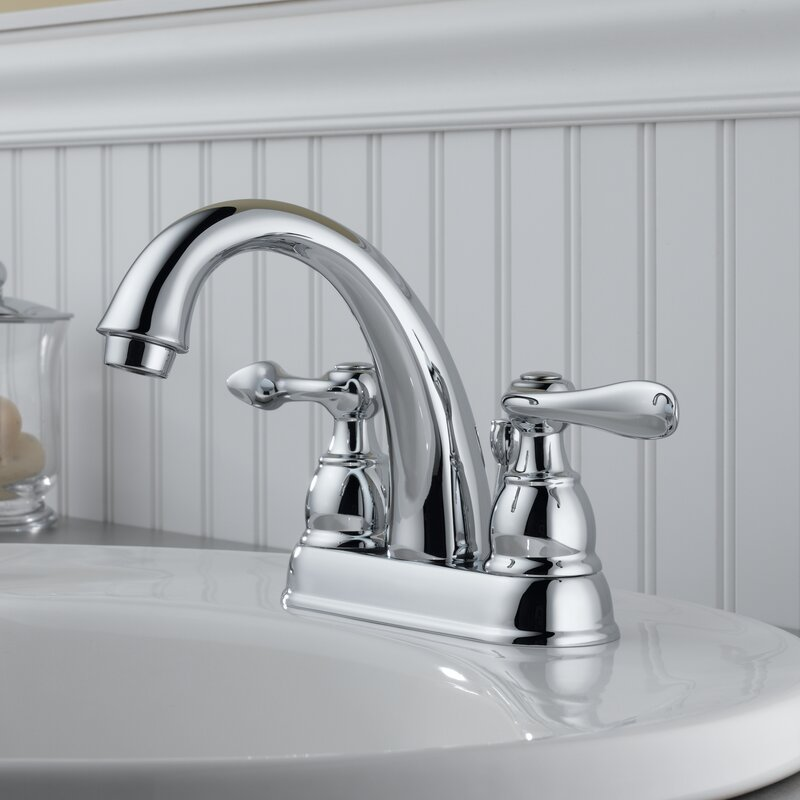 Delta Windemere Centerset Double Handle Bathroom Faucet With Drain Assembly And Diamond Seal