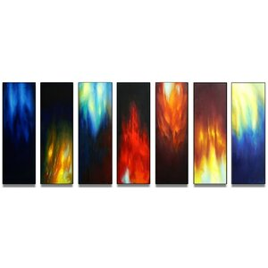 Abstract Fire 7 Piece Painting on Canvas Set by Design Art