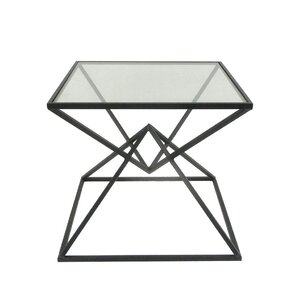 Wakeman Metal Glass Top End Table by Varick Gallery