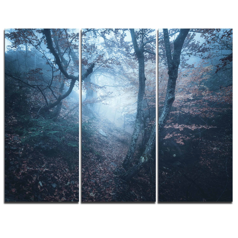 Designart Beautiful Autumn In Forest 3 Piece Graphic Art On Wrapped Canvas Set Wayfair
