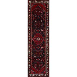Top Reviews One-of-a-Kind Mccluney Hamadan Persian Hand-Knotted Runner 3'6 x 12'6 Wool Red/Black Area Rug By Isabelline