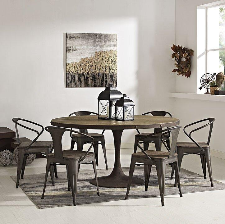 17 stories omarion metal base dining table & reviews | wayfair