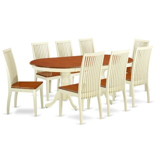 Pilcher 9 Piece Solid Wood Dining Set by August Grove