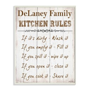 Personalized Kitchen Rules Textual Art Plaque by Stupell Industries
