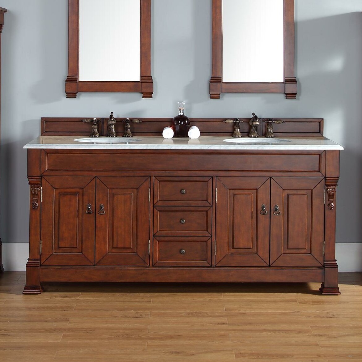 """Darby Home Co Bedrock 72"""" Double Warm Cherry Bathroom Vanity Set with Drawers & Reviews   Wayfair"""