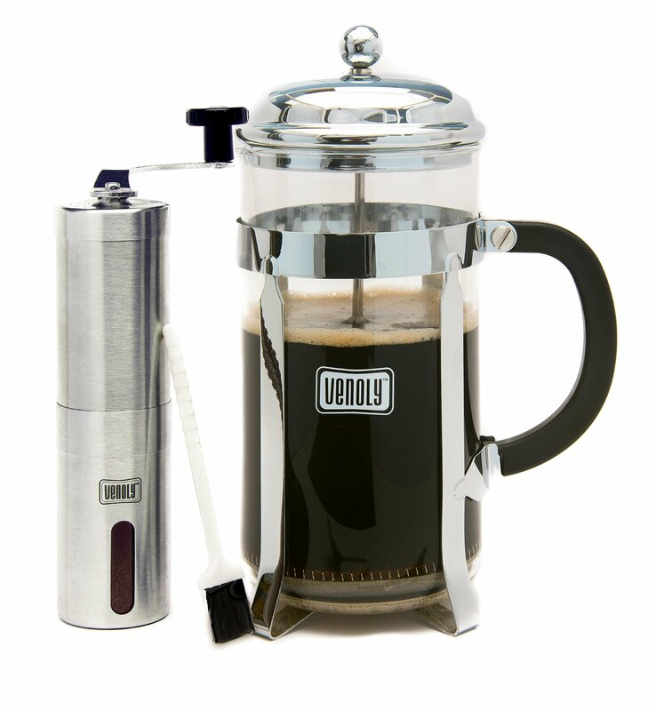 8-Cup French Press Coffee Maker with Burr Grinder