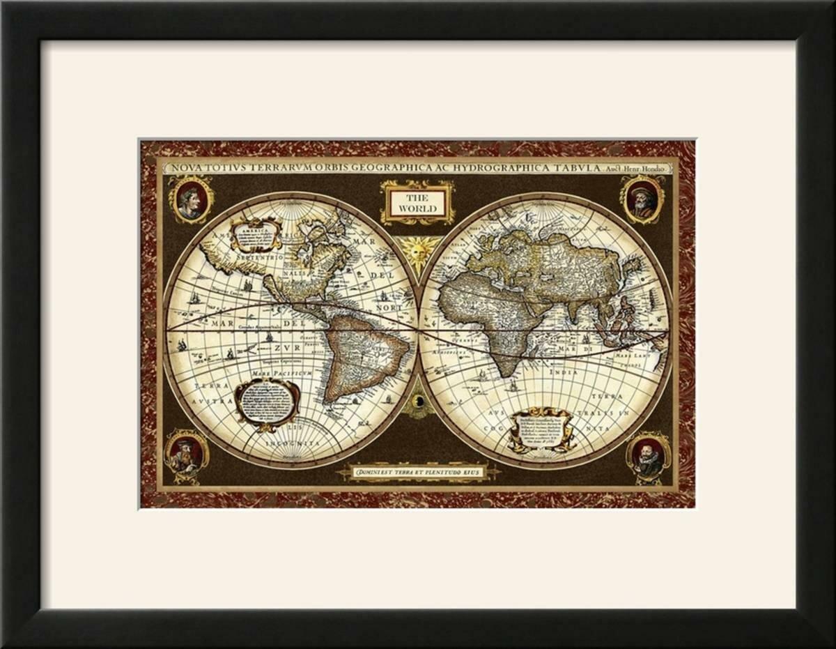 Charlton Home Decorative World Map Framed Graphic Art Print Wayfair
