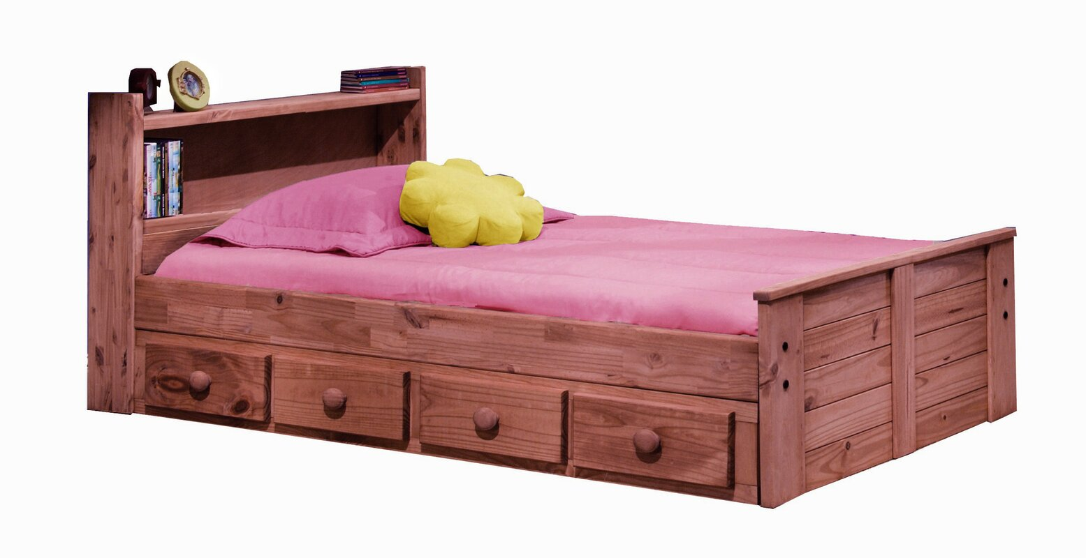 Chiu Twin Mates Captains Bed With Bookcase Headboard