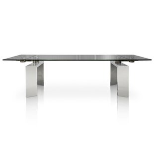 Perfect Arche Extendable Glass Top Dining Table By Orren Ellis