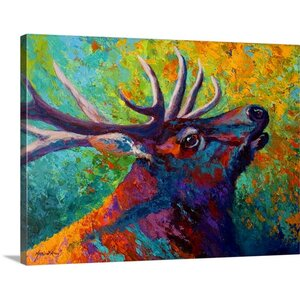 'Forest Echo Elk' by Marion Rose Painting Print on Canvas by Canvas On Demand