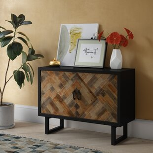 Callie Wood Panel 2 Door Accent Cabinet with Metal Leg