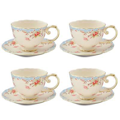 Hemby 11 Piece Vintage Blue Rose Porcelain Tea Set by Lark Manor