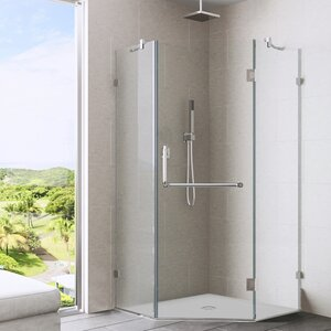 Piedmont 36 x 36-in. Frameless Neo-Angle Shower Enclosure with .375-in. Clear Glass and Chrome Hardware