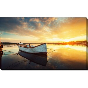 'Boat on Lake' Photographic Print on Wrapped Canvas by Picture Perfect International