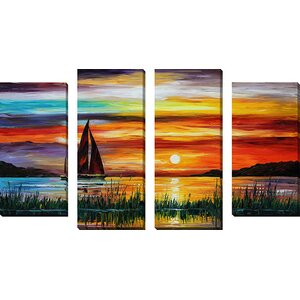 'Florida Lake' by Leonid Afremov 4 Piece Painting Print on Wrapped Canvas Set by Picture Perfect International