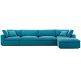 Commix Down Filled Overstuffed 5 Piece Sectional Sofa Set in Grey