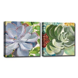 Incroyable U0027Brilliant Succulents III/IVu0027 By Norman Wyatt Jr. 2 Piece Painting Print On  Wrapped Canvas Set