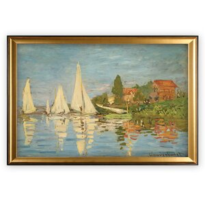 'Regatta at Argenteuil' by Claude Monet Wood Framed Oil Painting Print on Wrapped Canvas by Longshore Tides