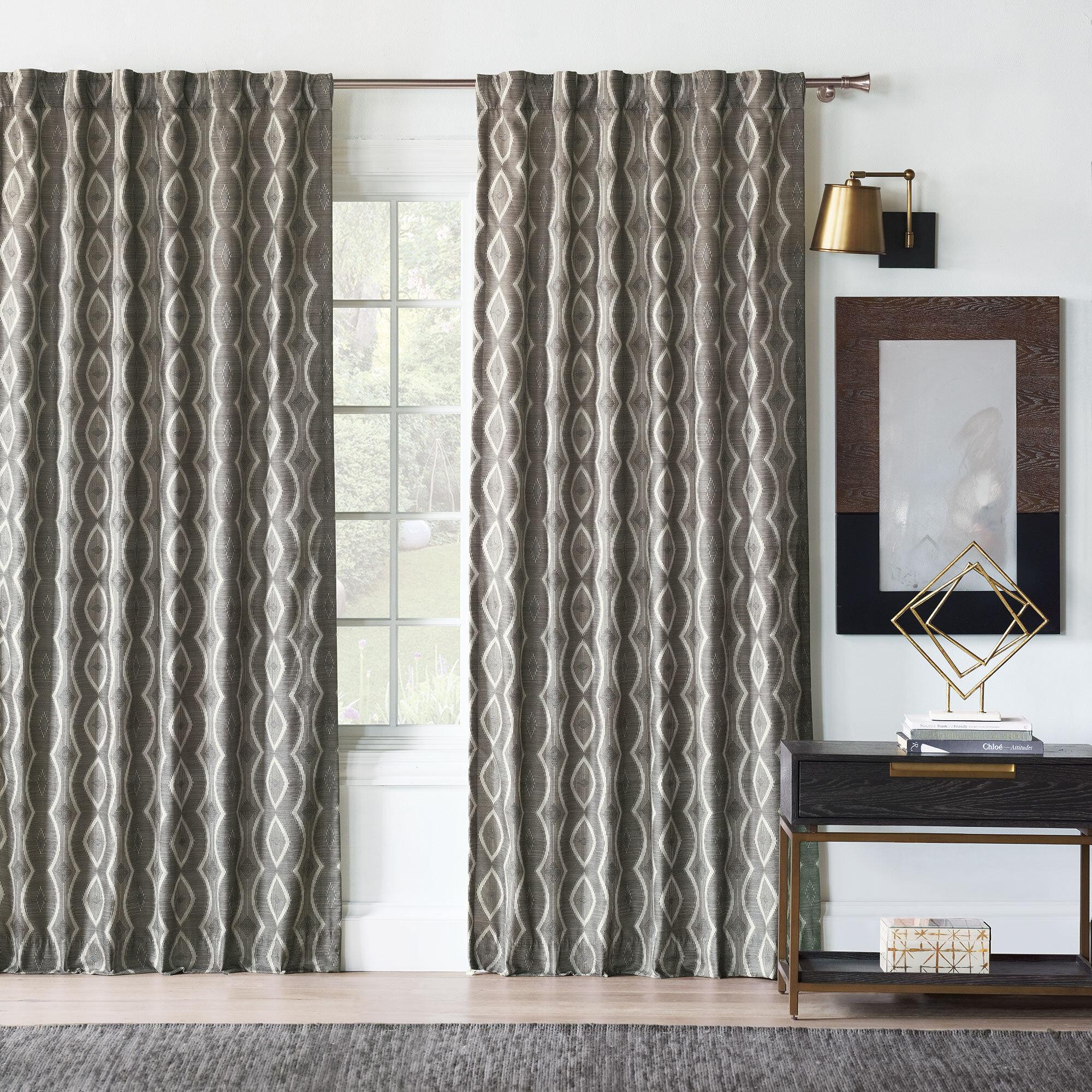 Eastern Accents Idris 100 Cotton Geometric Room Darkening Rod Pocket Single Curtain Panel Perigold