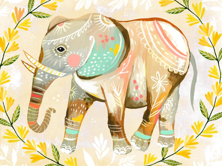 Oopsy Daisy Wild Flower Elephant by Katie Daisy Canvas Art & Reviews ...