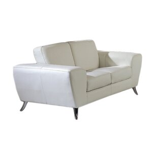 Alonso Leather Loveseat. Black White