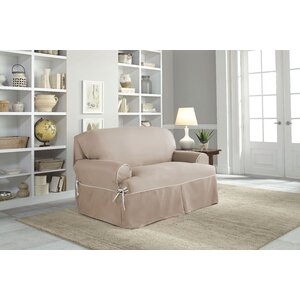 Twill T-Cushion Loveseat Slipcover
