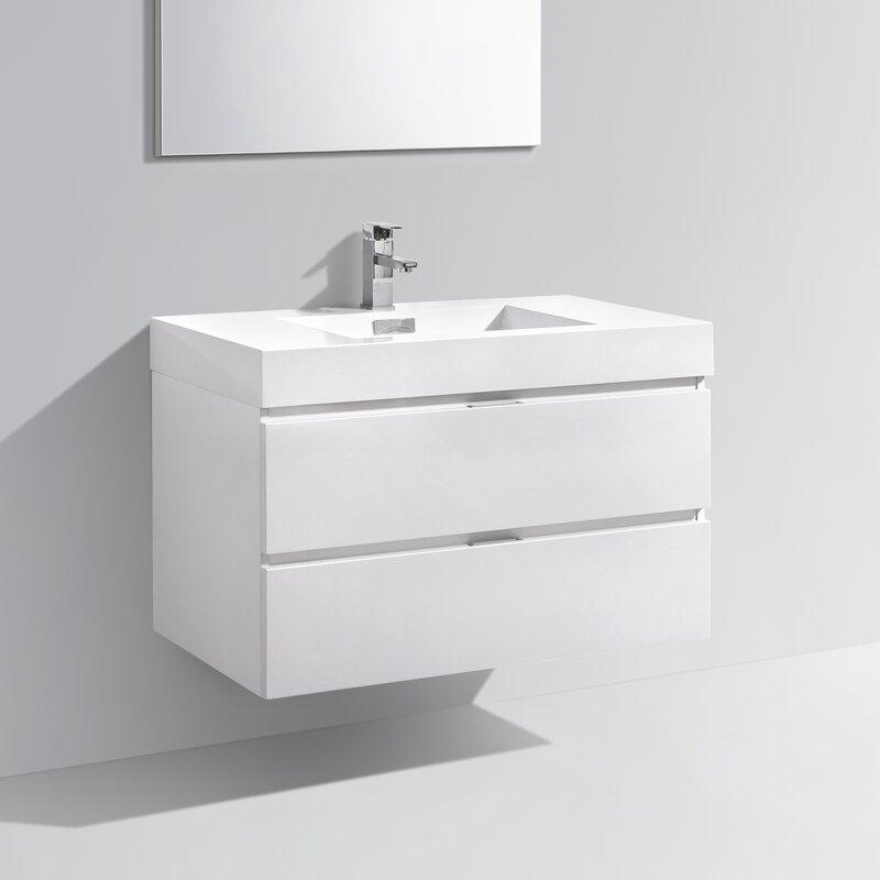 """All Modern Bathroom Vanity: Wade Logan Tenafly 36"""" Single Wall Mount Modern Bathroom"""
