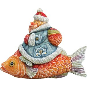 Derevo Santa on Fish Figurine Ornament