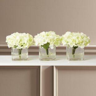 Faux Potted Mini Hydrangea Floral Arrangement In Vase (Set Of 3)