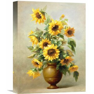 'Sunflowers In Bronze II' by Welby Painting Print on Wrapped Canvas by Global Gallery