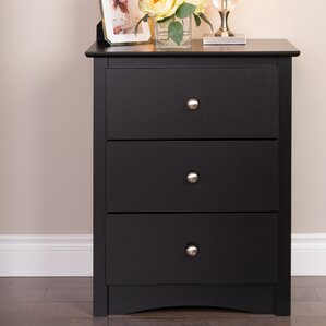 Wanda Tall Black 3 Drawer Nightstand by Latitude Run