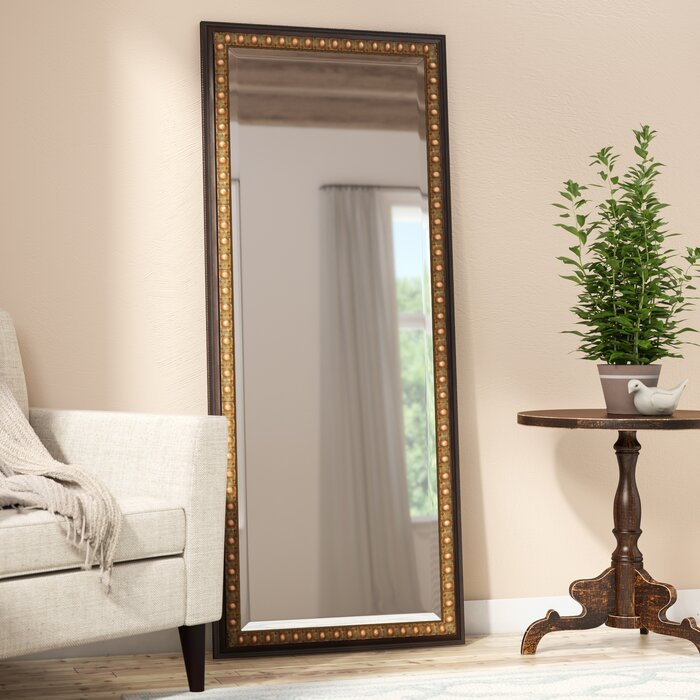 Dark Brown Wood Beveled Wall Mirror