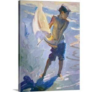 'Boy with Boat' by John Asaro Painting Print on Wrapped Canvas by Great Big Canvas