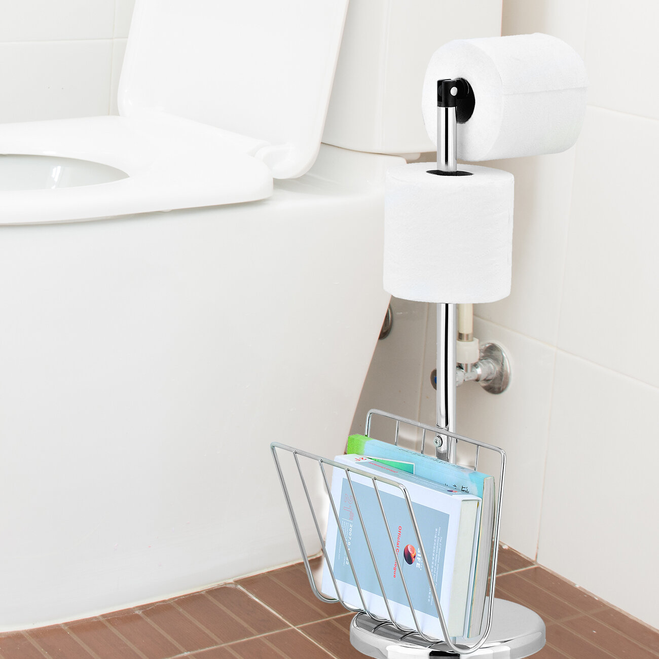 Rebrilliant Cavazos Freestanding Toilet Paper Holder With Magazine Stand Wayfair