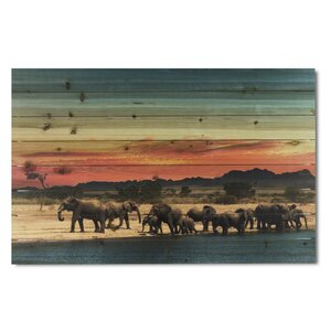 'Elephant Herd' Photographic Print on Wood by Gallery 57
