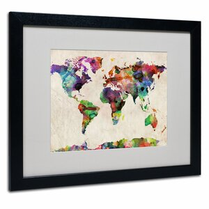 Urban Watercolor World Map by Michael Thompsett Framed Graphic Art by Trademark Fine Art