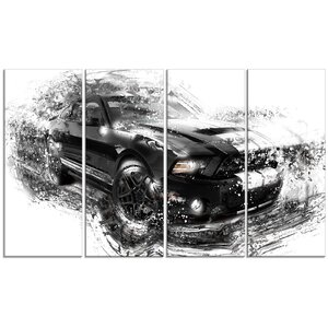 Black and White Muscle Car 4 Piece Graphic Art on Wrapped Canvas Set by Design Art