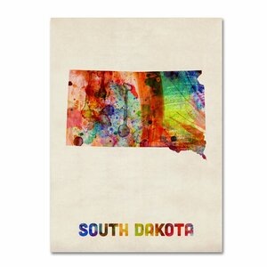 'South Dakota Map' by Michael Tompsett Framed Graphic Art on Wrapped Canvas by Trademark Fine Art