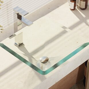 Shopping for , Crystal Glass Square Vessel Bathroom Sink with Faucet By René By Elkay