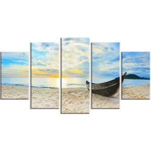 'Calm Beach Panorama' 5 Piece Wall Art on Wrapped Canvas Set by Design Art