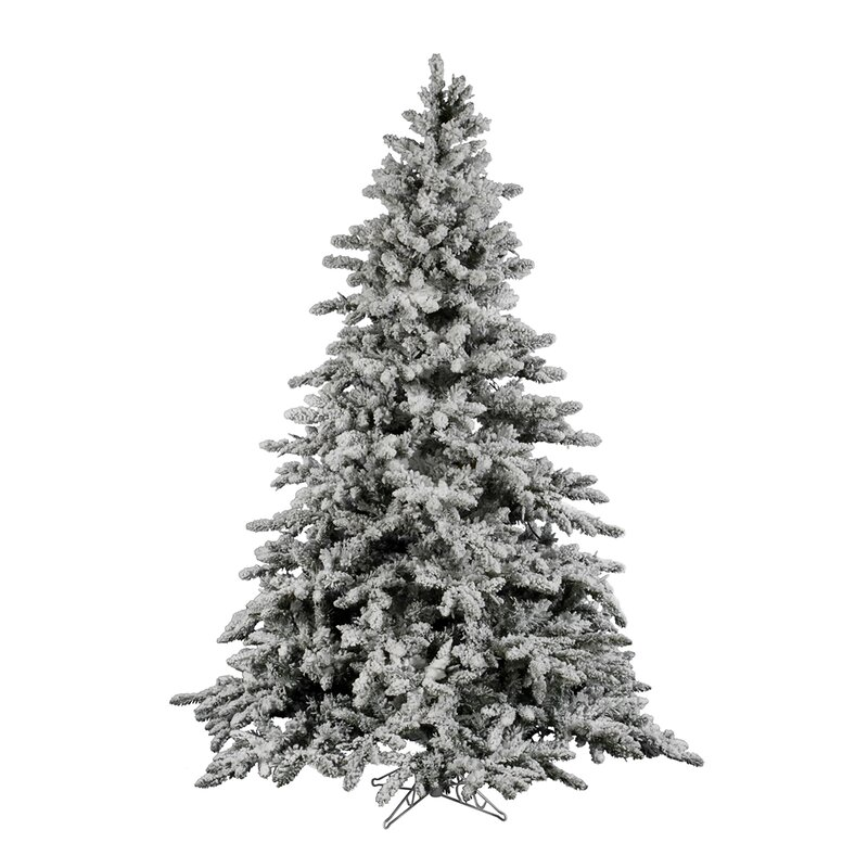 flocked utica 9 green fir artificial christmas tree with unlit with stand - Artificial Christmas Tree