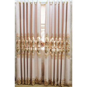 Decorative Embroidered Nature/Floral Blackout Grommet Single Curtain Panel