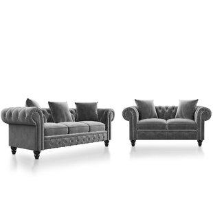 Peiffer 2 Piece Velvet Configurable Living Room Set by Rosdorf Park
