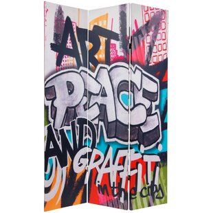 Graffiti 3 Panel Room Divider by East Urban Home