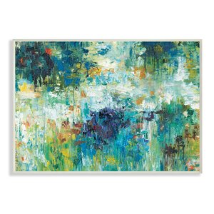 Reflections Blue Abstract Landscape' Painting Print by Stupell Industries