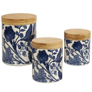 Wonderful Clair Blue 3 Piece Kitchen Canister Set