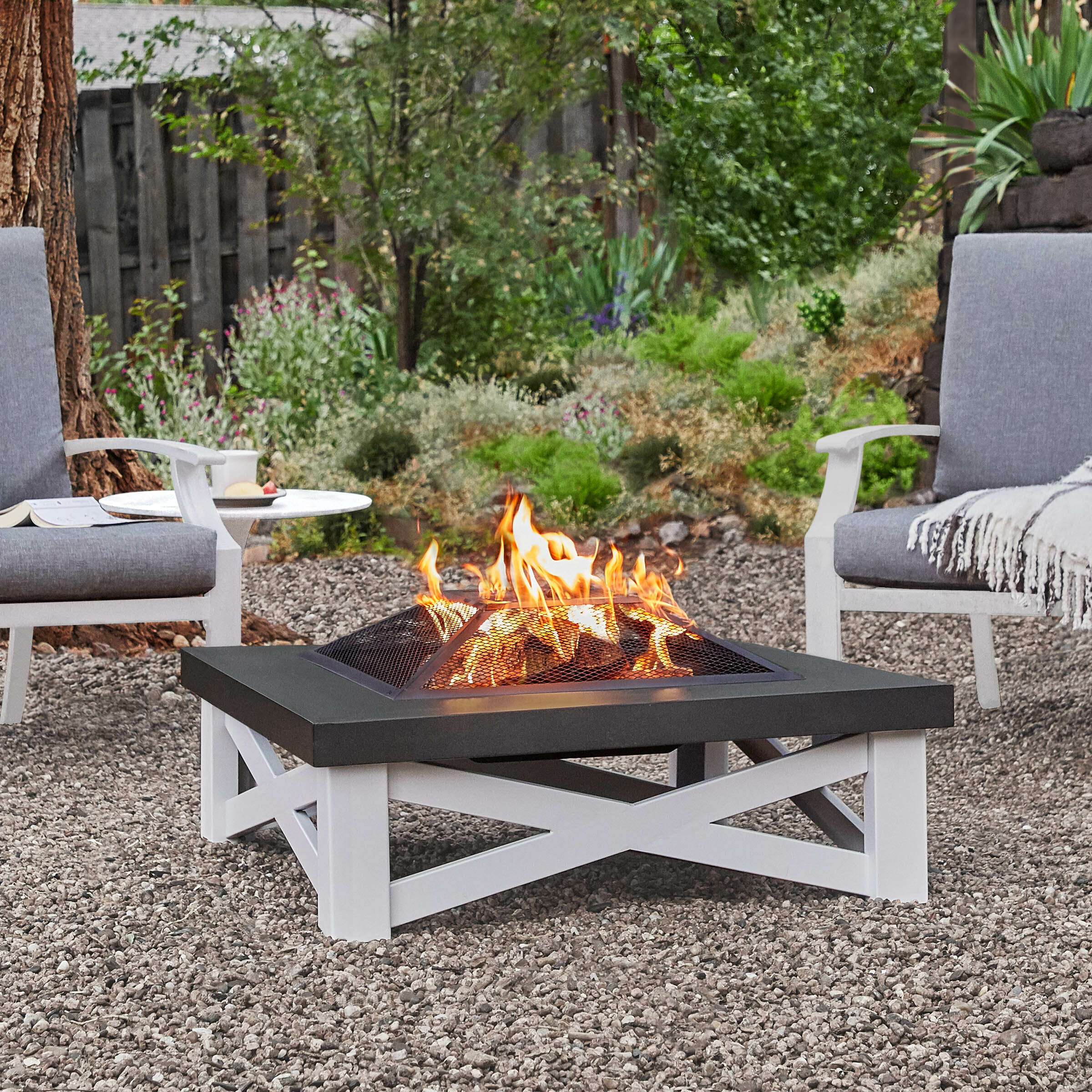 Real Flame Austin Steel Wood Burning Fire Pit Reviews Wayfair
