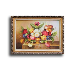 Vase with Flowers' Framed Painting by Greenville Signature