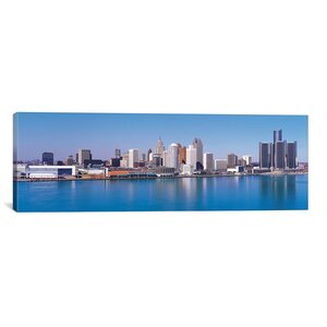'Detroit Skyline Cityscape' Photographic Print on Wrapped Canvas by East Urban Home