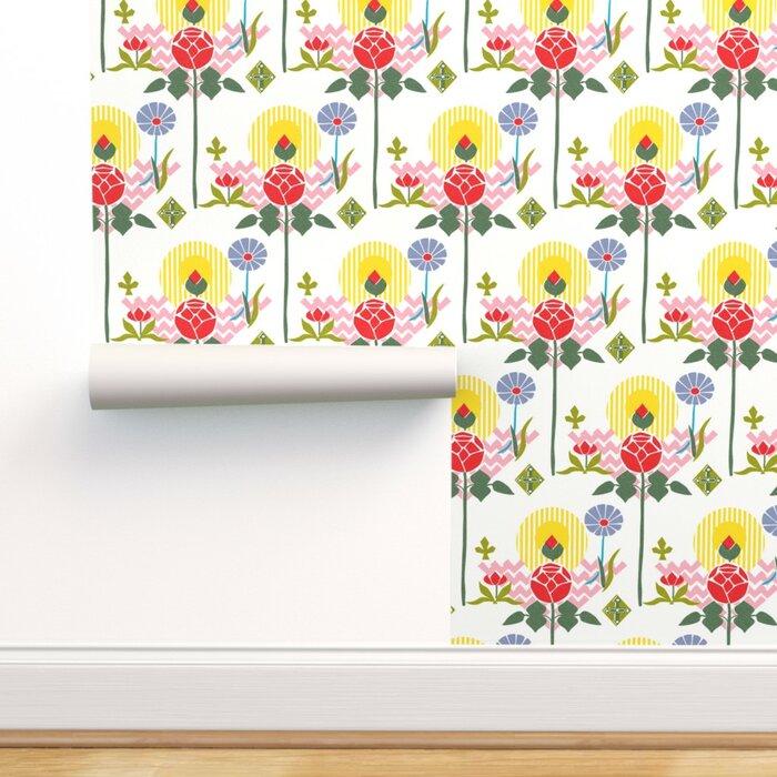 Folk Art Florals Peel And Stick Removable Wallpaper Swedish Modern Floral Floral Scandinavian Swedish Botanical Bright Colours Large Scale Jumbo